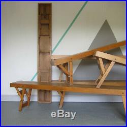 Mid Century Vintage Folding School Bench Seat 1940s Garden Modernist Old