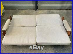 Mid century C. D. Pierce danish teak framed sofa bed three seater vintage retro
