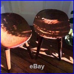 Mid-century Pair Of Solid Wooden Chairs Stools Vintage Antique