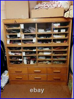 Mid century glazed haberdashery Cabinet unit shop display vintage industrial