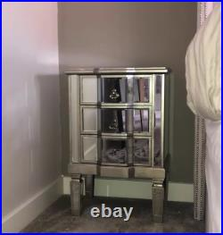Mirrored Bedside Table Vintage Glass Furniture Venetian Side Cabinet 3 Drawers