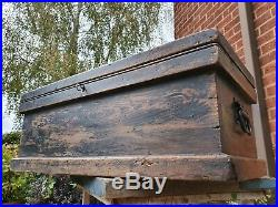 Nice Old Antique Chest Box, Vintage Wooden Storage Trunk, Coffee Table