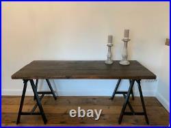 OKA Style Large Vintage Reclaimed Trestle Dining Table Seats 4 6