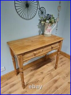 Old Solid Pine Farmhouse Console Side Hall Table Vintage Antique Victorian Style
