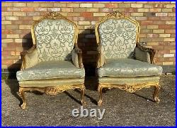 Pair Of Vintage French Carved Gilt Wood Louis XVI Style Chairs / Armchairs 1960s