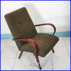 Pair of vintage mid-century armchairs TON, Halabala style, for reupholstering