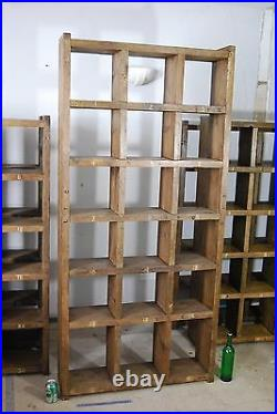 Pigeon holes industrial rustic bookcase 8 wood vintage library shelves gplanera
