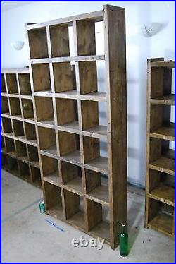 Pigeon holes industrial rustic bookcase x5 wood vintage library shelves gplanera