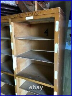 Pigeonholes bookcase storage school Vintage pine & beech 54 x 11 x 66 tall