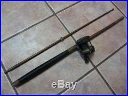 RARE Vintage 2 Piece Wooden Fishing Pole & Reel Old Antique Fish Hunt 6900