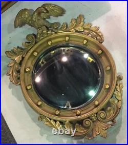 RARE Vintage Antique Large Gold Leaf Wood EAGLE MIRROR Round Wall Bird Mirror