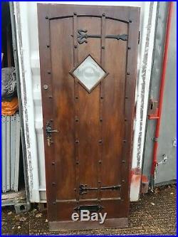 Reclaimed Vintage Solid wood front door studs bulls Eye glass window glazed