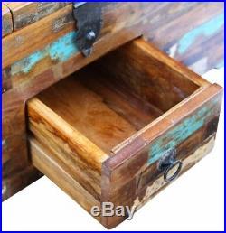 Retro Storage Chest Wooden Coffee Side Table Vintage Trunk Treasure Box Antique
