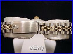 Rolex Date Ladies 2Tone 14K Yellow Gold Steel Watch Jubilee Band Champagne