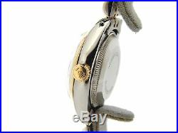 Rolex Date Ladies 2Tone Stainless Steel Yellow Gold Watch Blue Dial Domed Bezel
