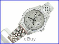 Rolex Datejust Ladies Stainless Steel Watch with Silver Diamond Dial &. 70ct Bezel