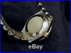 Rolex Datejust Lady 14K Yellow Gold & Steel Watch Silver Diamond Dial 1ct Bezel