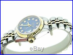 Rolex Datejust Lady 2Tone 14K Gold Stainless Steel Watch Blue Diamond Dial 6917