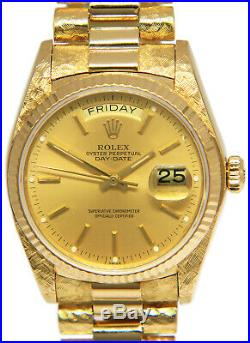 Rolex Day-Date President Florentine 18k Yellow Gold Mens 36mm Watch 18038