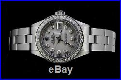 Rolex Ladies Datejust Oyster Stainless Diamond Dial Bezel Watch Pearl Authentic