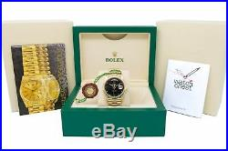 Rolex Men's Vintage Day-Date Yellow Gold 18038 Wristwatch President, Black