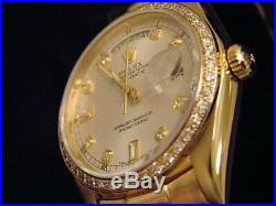 Rolex Solid 18k Yellow Gold Day Date President Silver Diamond Dial & Bezel 18038