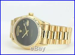 Rolex Watch Mens 36mm Day-Date 18038 Presidential Gold Black Onyx Dial