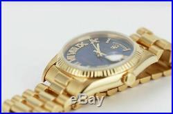 Rolex Watch Mens Day-Date 18038 Presidential Gold Cobalt Blue Roman Diamond
