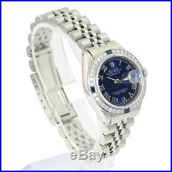 Rolex Womens Datejust Steel Blue Roman Dial Diamond Bezel 26mm Jubilee Band