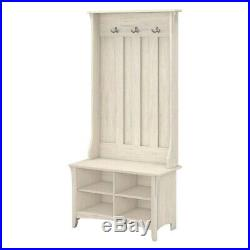 Rustic White Wooden Hall Tree Coat Rack Hat Hooks Storage Stand Entryway Bench