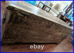 Rustic Wooden Chest Vintage Trunk Blanket Toy Old Antique Storage Box Solid Wood