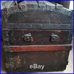 Sea Chest / Travel Trunk (Victorian) Dome Top Leather/Wood Vintage /Antique