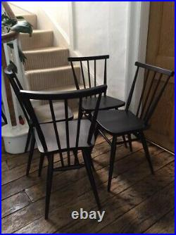 Set of 4 Ercol All Purpose chairs 391 Spray painted black Vintage Can post £65