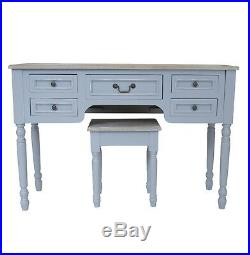 Shabby Chic Dressing Table Set With Stool Antique Grey Vintage Console Makeup Desk