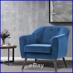 Solid Wood Frame Armchair Vintage Tub Stuffed Chair Button Lounge Seat Blue