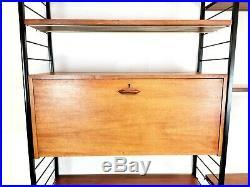 Staples Ladderax Twin Bay Teak Shelving Storage Unit Mid Century Vintage Retro