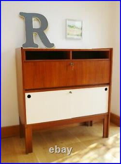 Stunning Vintage Mid-Century Teak Drinks Cabinet/Bar with Red Formica Interior