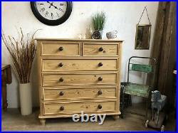 Stunning Vintage Old Pine Chest Of Drawers / Sideboard/ Dresser