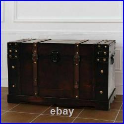 UK Vintage Treasure Wood Storage Chest Trunk Organizer Box Side Stand