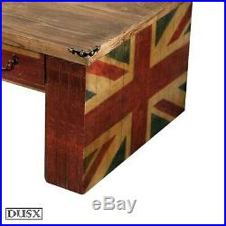 Union Jack Coffee Table Three Drawers Vintage Retro Wooden British Boys Room UK