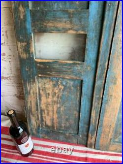 VINTAGE WOODEN SHUTTERS WINDOW ANTIQUE FRENCH 93x68 CM FREE post