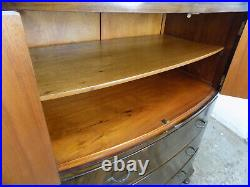 Vintage, 1930's, Deco, mahogany, bow front, tall boy, drawers, cupboard, cabriole legs