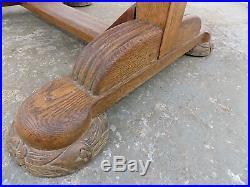 Vintage, 1930's, oak, drawer leaf, extending, dining table, carved, pedestal base, table
