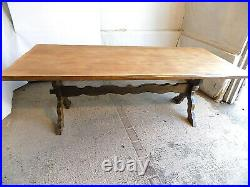 Vintage, 20thC, beech, large, 7', refectory, dining table, table, seat 10, X frame, dine