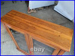 Vintage, 20thC, walnut, 2 door, freestanding, glazed, bookcase, 3, adjustable, shelves
