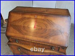 Vintage, 20thC, walnut, serpentine, bureau, writing, desk, drawers, cabriole legs