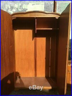 Vintage Antique Austinsuite Brown Bedroom Suite Set 2 Wardrobes & Dressing Table