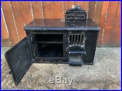 Vintage Antique COOPER & HEDGES Cast Iron Range Cooking Wood Burning Stove
