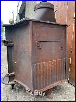 Vintage Antique Cast Iron Bi-folding Door stove Fireplace Log Wood Burner