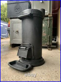 Vintage Antique Cast Iron Cylindrical stove wood Log Burner Range Fire